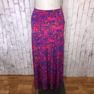 NWT pink blue print maxi skirt size XXS